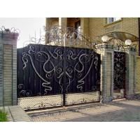 Распашные ворота сварные, кованные под заказ