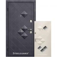 Входные двери Steelguard КУБИКИ Черный мат/Белый шелк